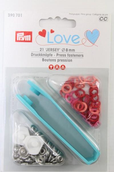 Druckknöpfe Jersey, Prym Love, 8mm, rot