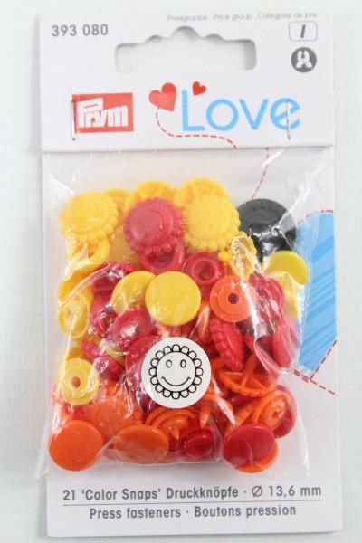 Druckknopf Color, Prym Love, Blume, 13,6mm, gelb/rot/orange