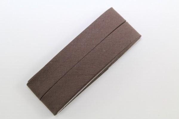 Schrägband, Baumwolle, 40/20mm, dunkelbraun, 3,5m