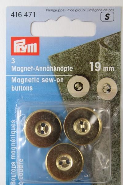 3 Magnet - Annähknöpfe 19 mm gold