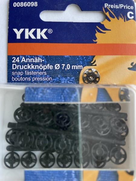 24 Annäh - Druckknöpfe ø 7mm Kunststoff schwarz (Restposten)