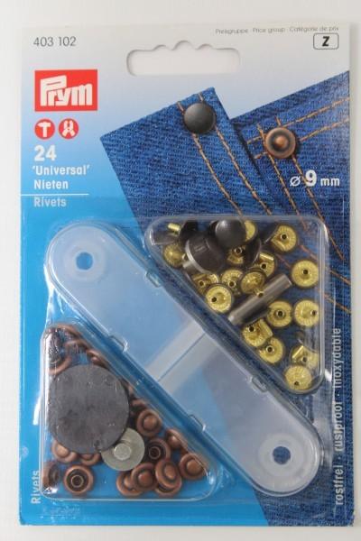 24 Universal Nieten ø 9 mm kupfer/schwarz