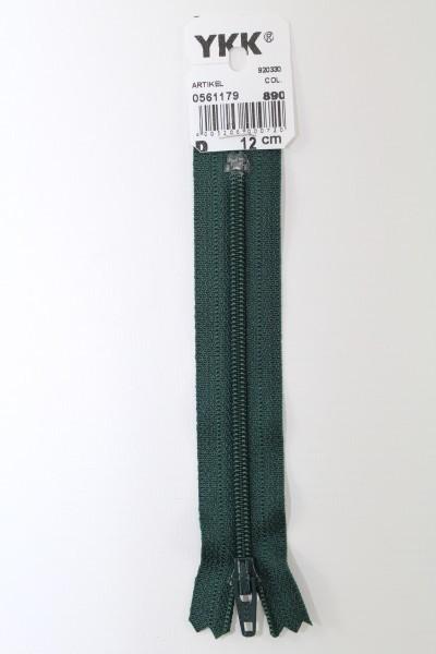 YKK-Reissverschluss 12cm-60cm, nicht teilbar, dunkelgrün
