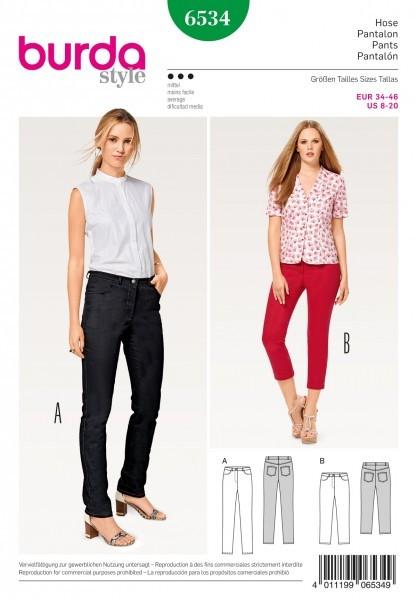 """burda Schnitt 6534 """"Hose und Jeans und 3/4 Hose"""""""
