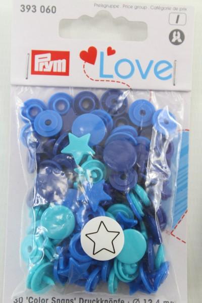 Druckknopf Color, Prym Love, Stern, 12,4mm, blau/türkis/tinte