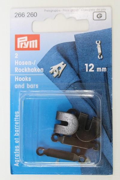 2 Hosen-/ Rockhaken 12mm schwarz