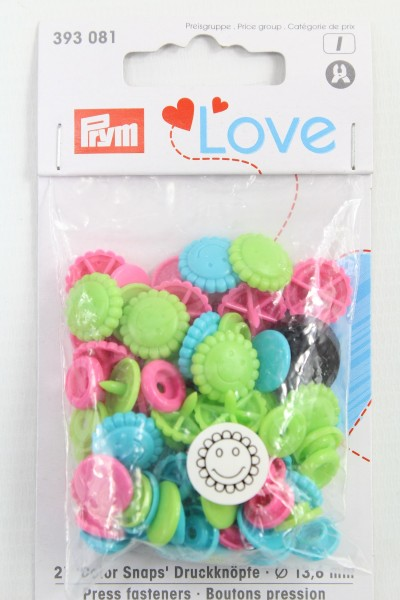 Druckknopf Color, Prym Love, Blume, 13,6mm, türkis/grün/pink