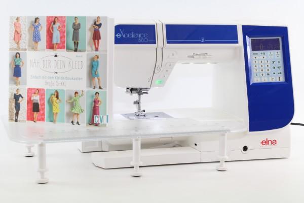 Nähmaschine Elna eXcellence 680 - mit extragroßem Anschiebetisch und Buch Näh Dir Dein Kleid !!!