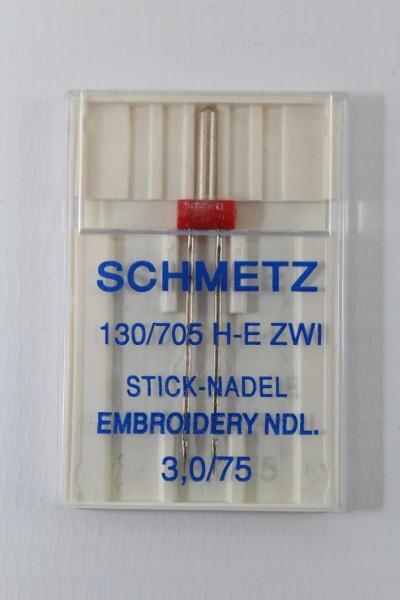 Zwillingsnadel Stick-Nadel 130/705 H-E ZWI 3,0/75