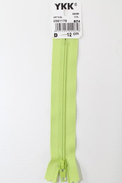 YKK-Reissverschluss 12cm-60cm, nicht teilbar, wiesengrün
