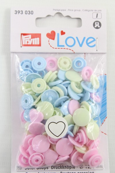 Druckknopf Color, Prym Love, Herz, 12,4mm, rosa/grün/hellblau