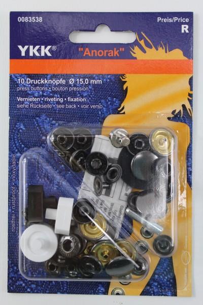 """YKK 10 Druckknöpfe """" Anorak"""" schwarz Ø 15mm"""