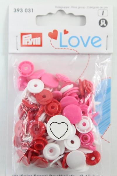 Druckknopf Color, Prym Love, Herz, 12,4mm, rot/weiß/pink