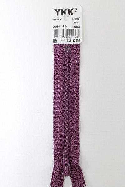 YKK-Reissverschluss 12cm-60cm, nicht teilbar, aubergine