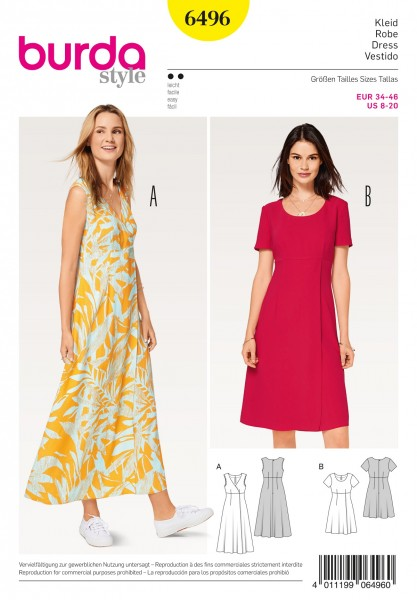 """burda Schnitt 6496 """"Kleid und hohe Taille und Wickeleffekt"""""""