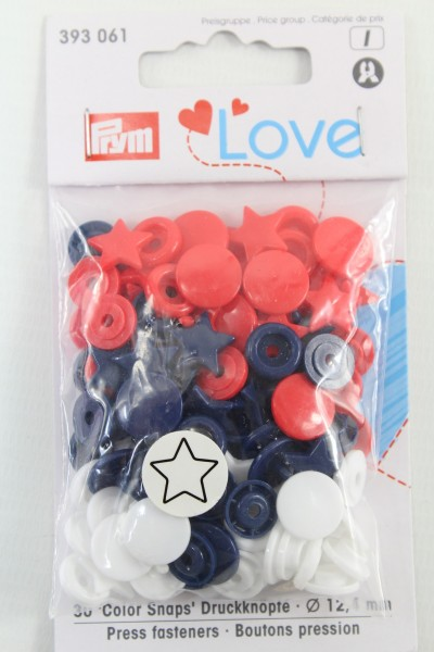 Druckknopf Color, Prym Love, Stern, 12,4mm, rot/weiß/marine