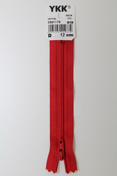 YKK-Reissverschluss 12cm-60cm, nicht teilbar, dunkelrot