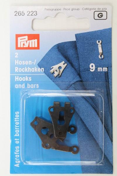 2 Hosen-/ Rockhaken 9mm schwarz