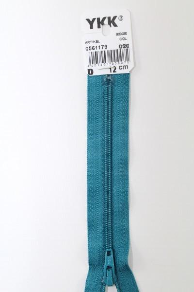 YKK-Reissverschluss 12cm-60cm, nicht teilbar, türkisblau