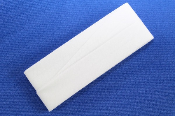 Schrägband, Baumwolle, 40/20mm, weiß, 3,5m