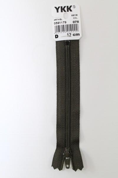 YKK-Reissverschluss 12cm-60cm, nicht teilbar, dunkeloliv