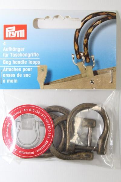 4 Aufhänger für Taschengriffe altmessing