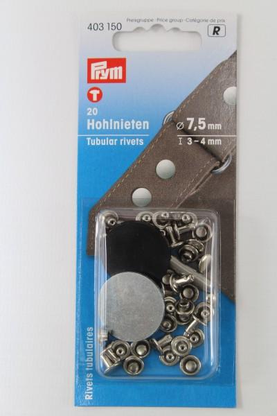 20 Hohlnieten ø 7,5mm silber
