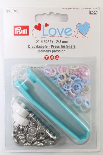 Druckknöpfe Jersey, Prym Love, 8mm, rosa/hellblau/perle