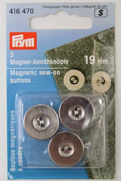 3 Magnet - Annähknöpfe 19 mm silber