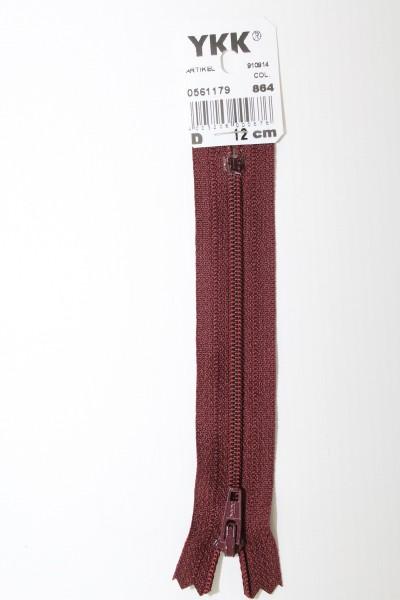 YKK-Reissverschluss 12cm-60cm, nicht teilbar, bordeauxrot
