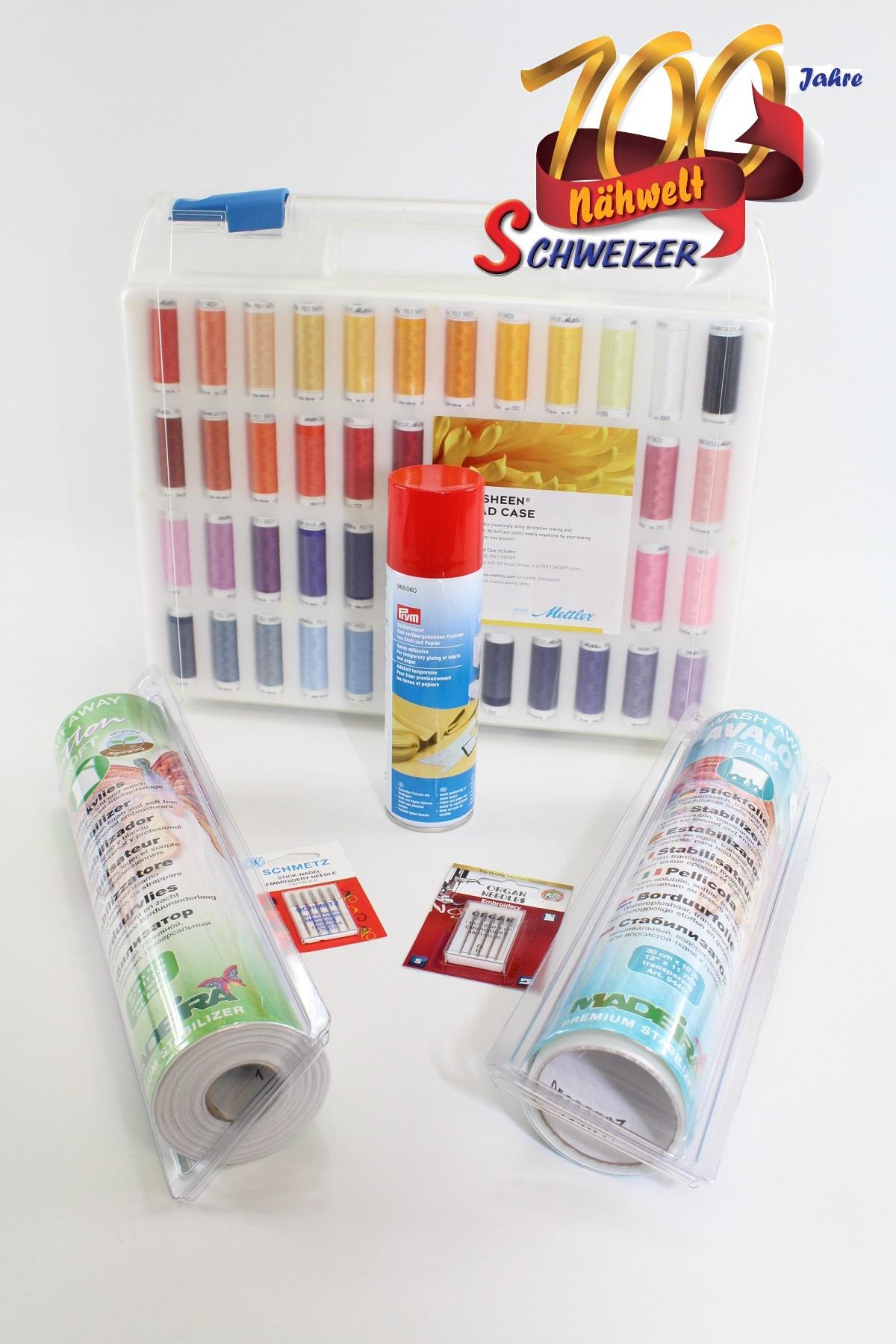 Stickgarnkoffer gefüllt mit Poly Sheen 200m//96 Farben von Amann Mettler