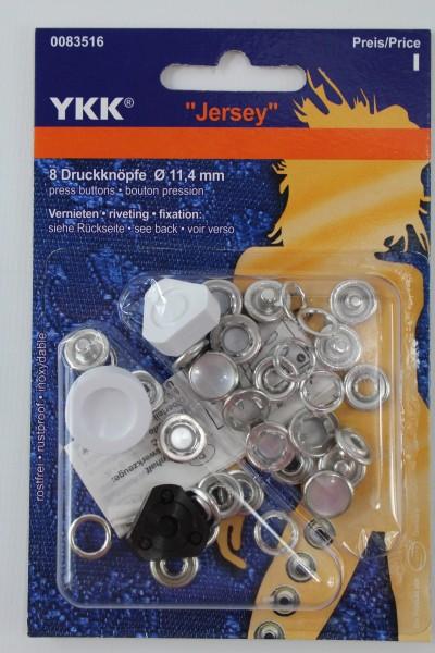 """YKK 8 Druckknöpfe """" Jersey"""" perlmutt Ø 11,4mm"""