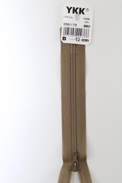 YKK-Reissverschluss 12cm-60cm, nicht teilbar, mittelbraun