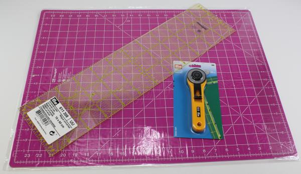 Matte mit Rollschneider Maxi und Universal-Lineal ( 60 x 45 cm / 45 mm / 15x60 cm)
