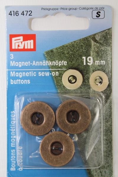 3 Magnet - Annähknöpfe 19 mm altmessing