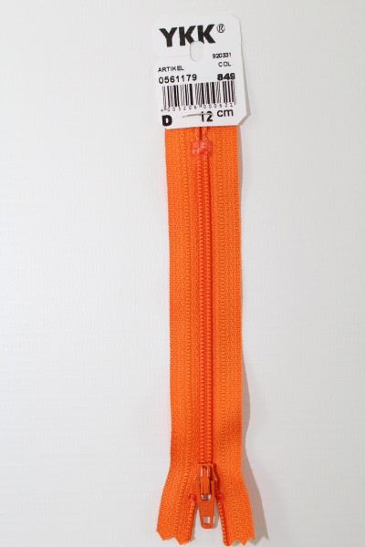 YKK-Reissverschluss 12cm-60cm, nicht teilbar, orange