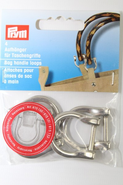 4 Aufhänger für Taschengriffe silber