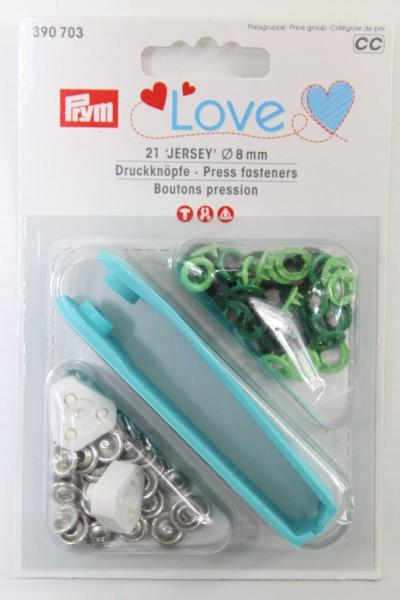 Druckknöpfe Jersey, Prym Love, 8mm, grün